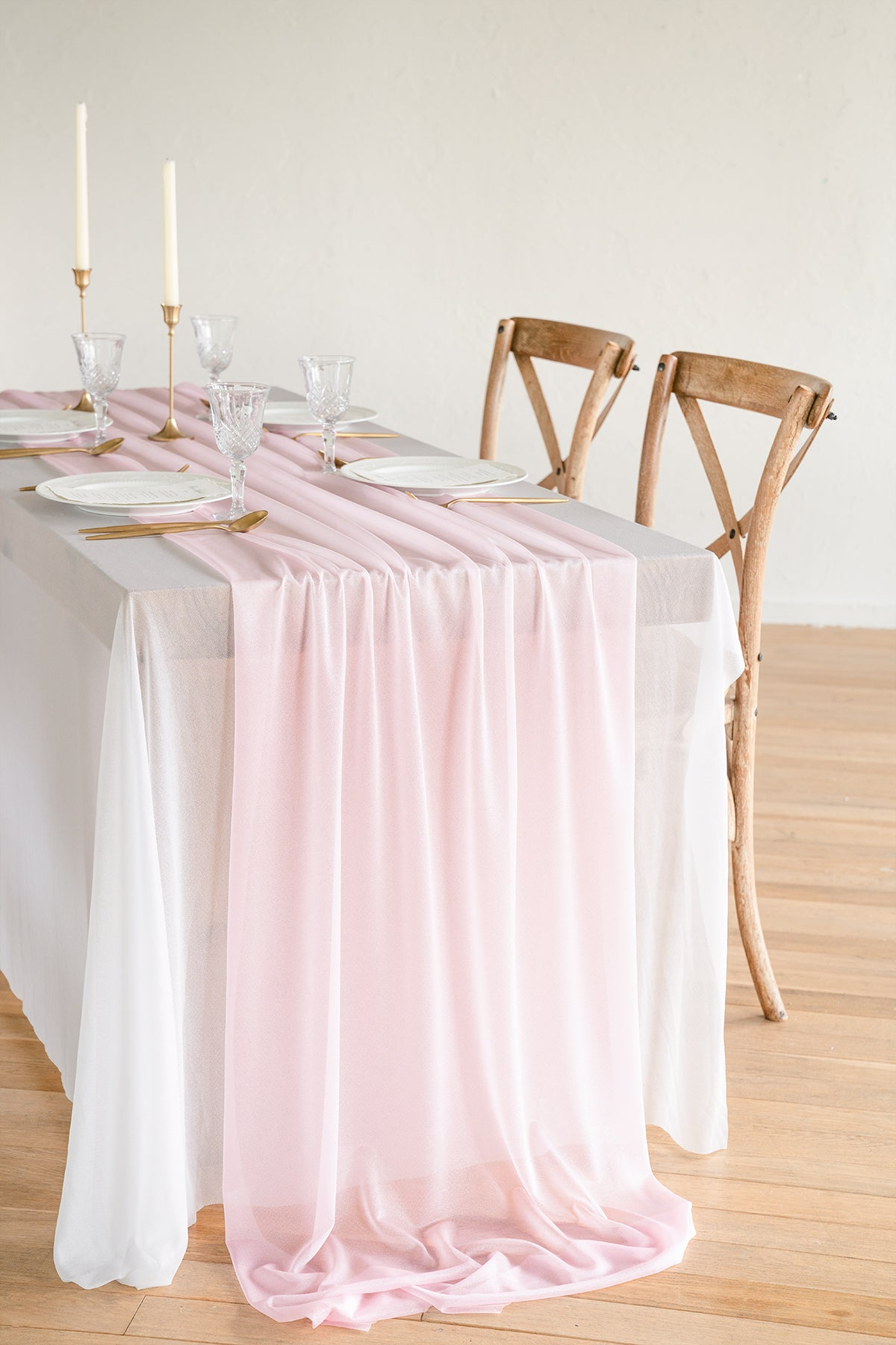 "Sheer Chiffon Table Runner 27""w x 10ft - 2 Colors"