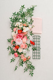 Flower Swag & Tablecloth for Sweetheart Table - Refreshing Coral
