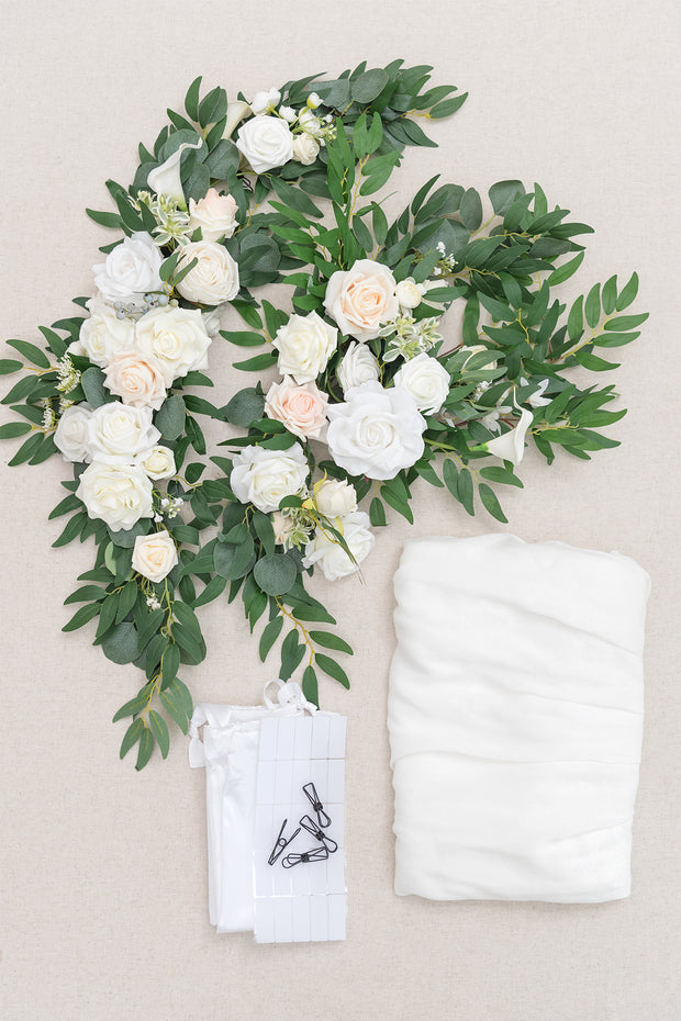 Table Floral Decor with Table Skirt (Set of 3) - Ivory