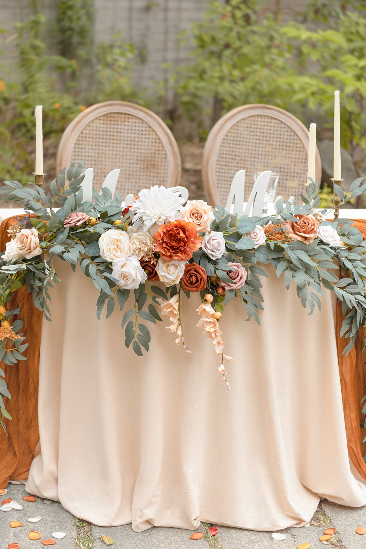9ft Flower Garland for Sweetheart/Head Table - Mariage Terracott