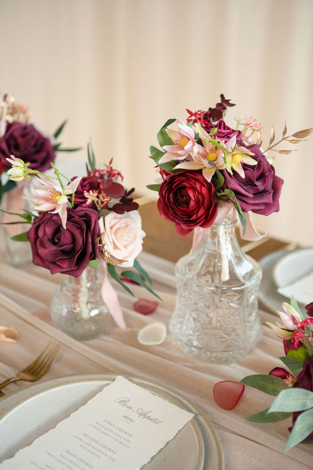 Centerpiece Mini Flower Bouquets (Set of 6) - Passionate Marsala