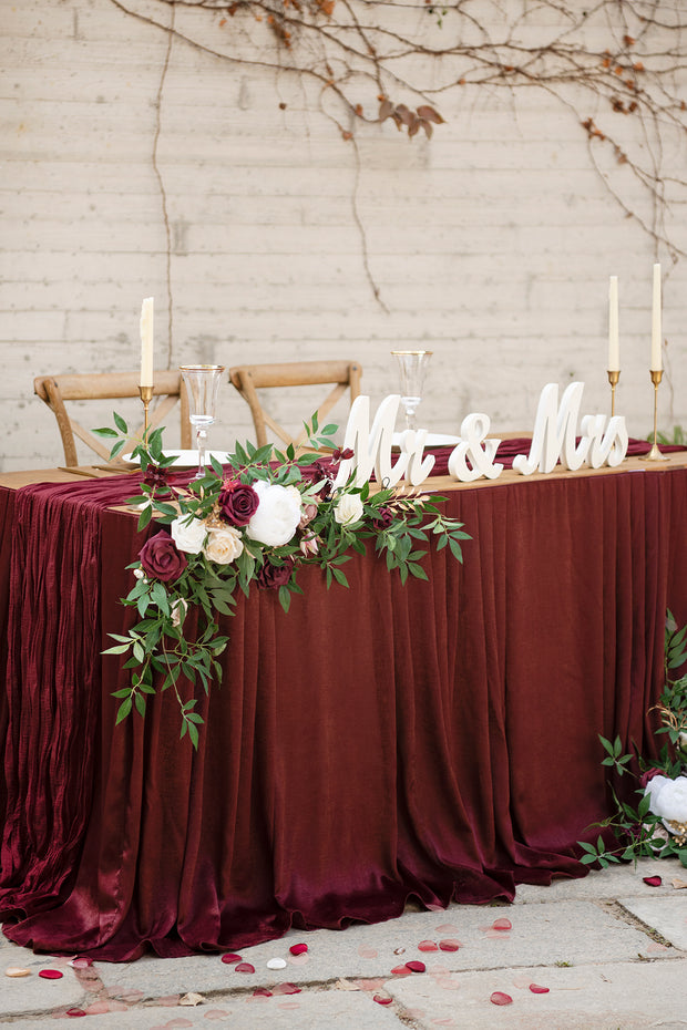 Table Floral Decor with Table Skirt (Set of 3) - Marsala