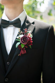Wedding Boutonnieres (Set of 6) - Classic Marsala