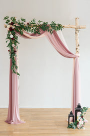 "Sheer Wedding Arch Draping Fabric 30""w x 6.5 Yards - Dusty Rose/Burgundy/Blush/Whites"