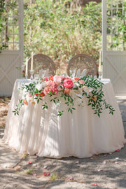 Flower Swag & Tablecloth for Sweetheart Table - Orange & Coral