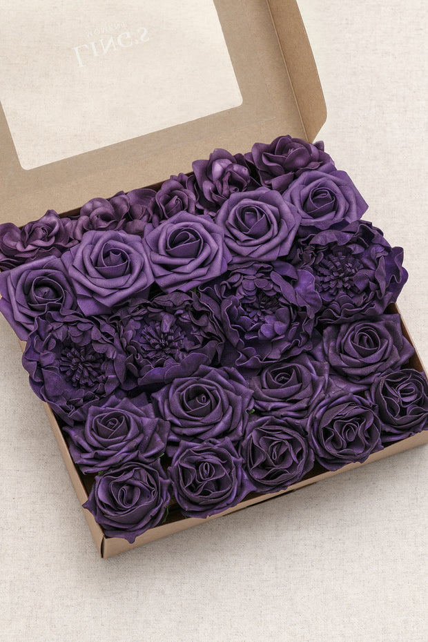 Flowers Box Set For DIY - Mauve & Plum Theme