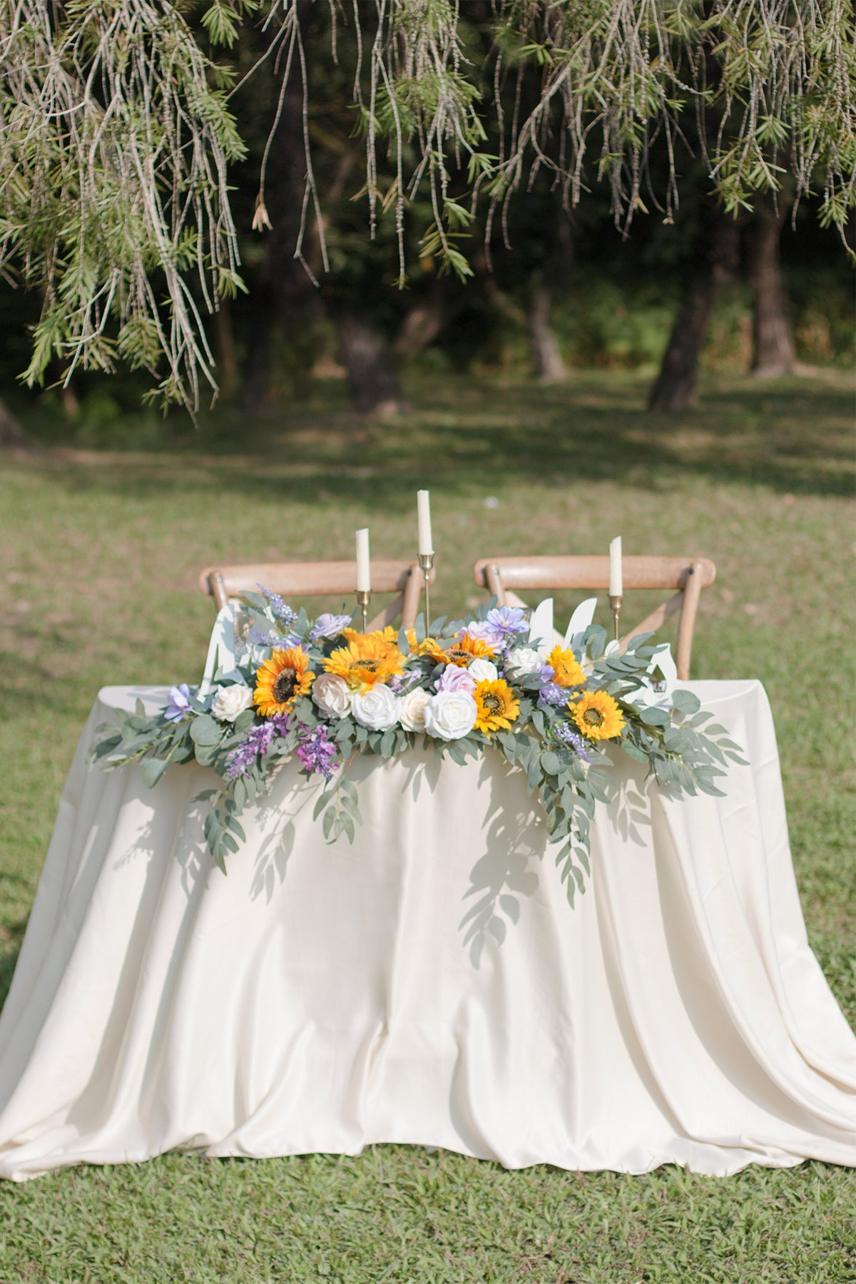 Flower Swag and Tablecloth for Sweetheart/Head Table - Sunflowers & Lavender