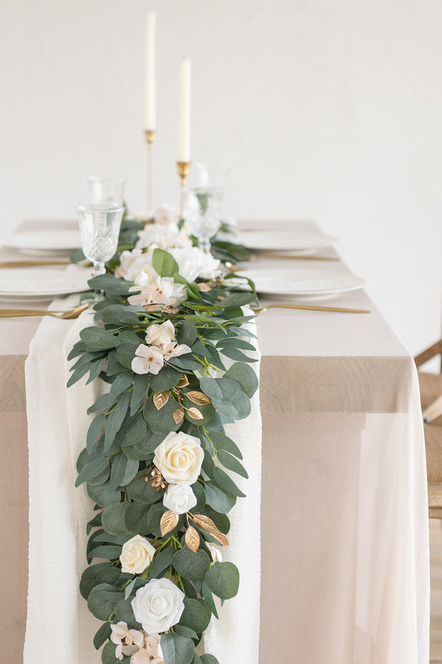 Eucalyptus and Willow Leaf Flower Garland 6.5FT - Cream