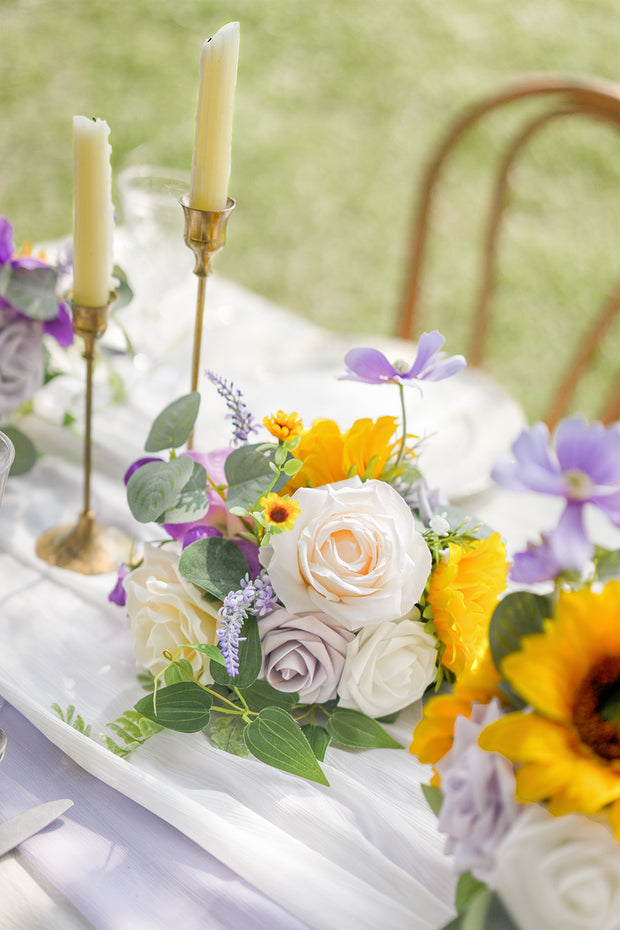 Half Moon Flower Ball Centerpiece (Set of 6) - Sunflowers & Lavender