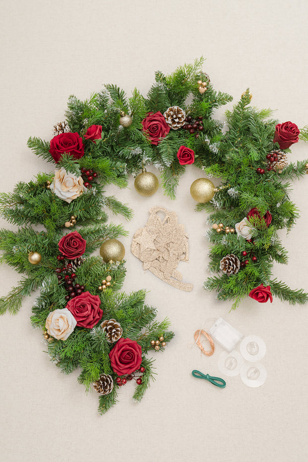 Christmas Fireplace Garland with Fairy Light and Paper Banner