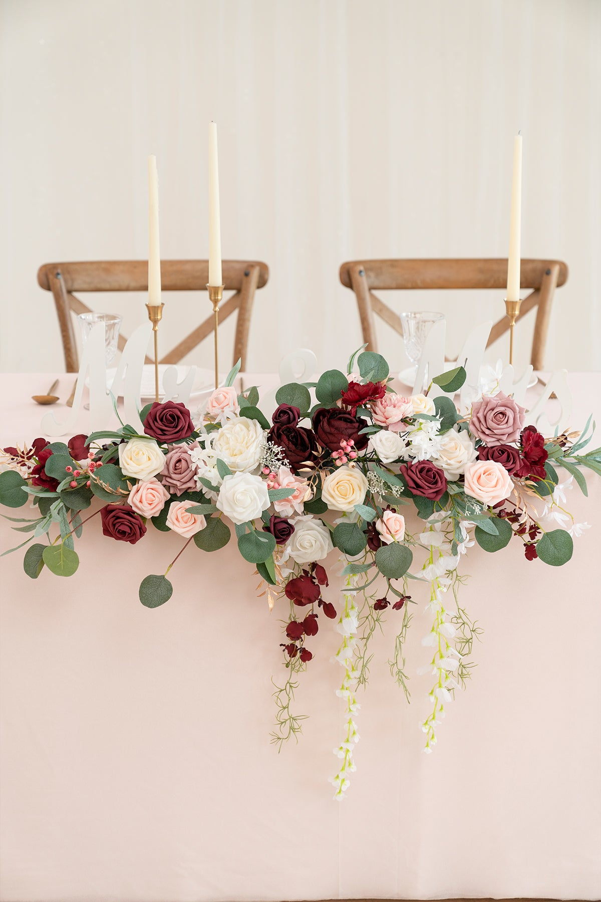 Flower Swag and Tablecloth for Sweetheart Table - Burgundy