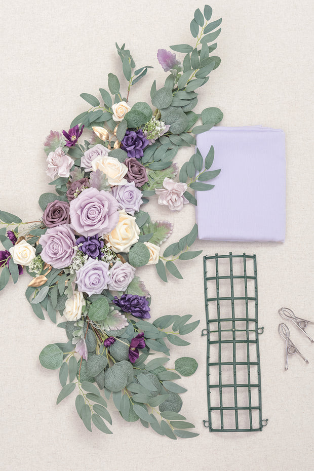 Flower Swag and Tablecloth for Sweetheart/Head Table - Lavender & Cream