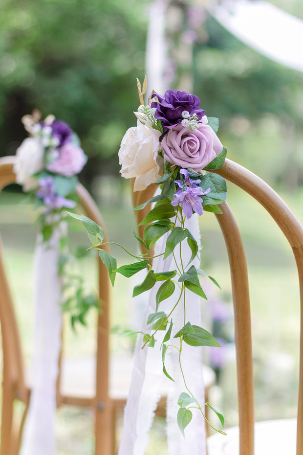 Wedding Aisle Decoration Pew Flowers (Set of 8) - Lilac & Gold