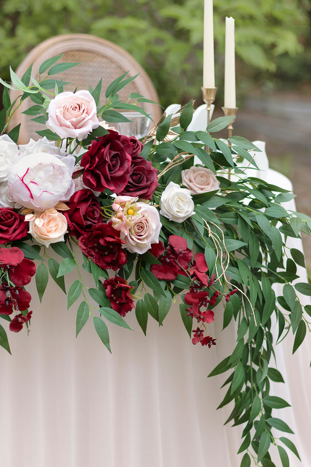 Flower Swag and Tablecloth for Sweetheart Table - Marsala