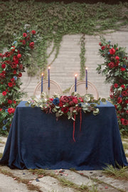 Flower Swag and Tablecloth for Sweetheart Table - Burgundy & Navy Blue