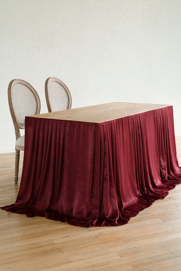 Elegant Velvety Polyester Table Skirt - 2 Colors