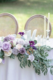 Flower Swag and Tablecloth for Sweetheart/Head Table - Lilac & Gold