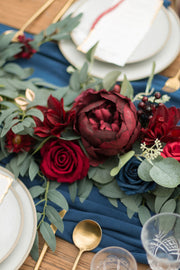 6ft Eucalyptus Flower Garland - Burgundy & Navy Blue
