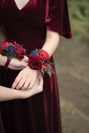 Wrist Corsages (Set of 6) - Burgundy & Navy Blue