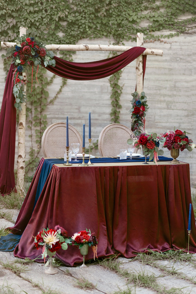 Burgundy Table Skirt And Navy Blue Table Runner