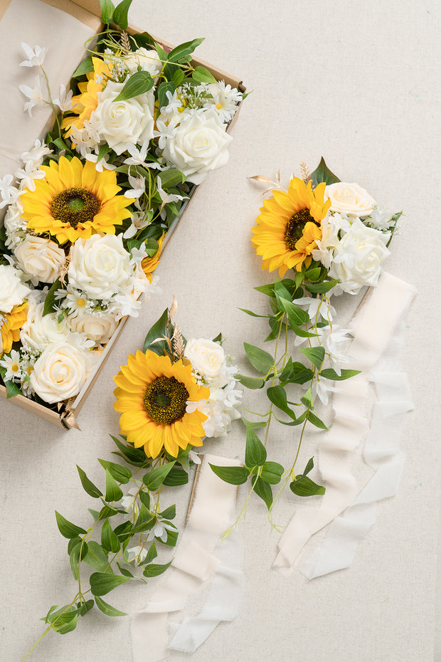 Wedding Aisle Decoration Pew Flowers (Set of 8) - Sunflower