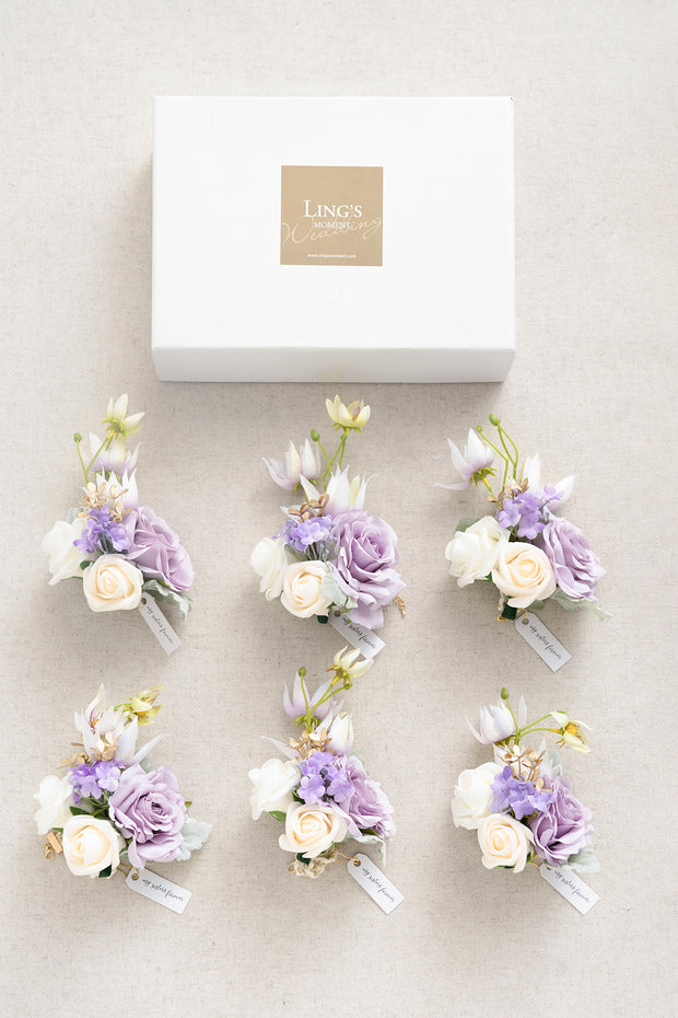 Wrist Corsages (Set of 6) - Lilac & Gold