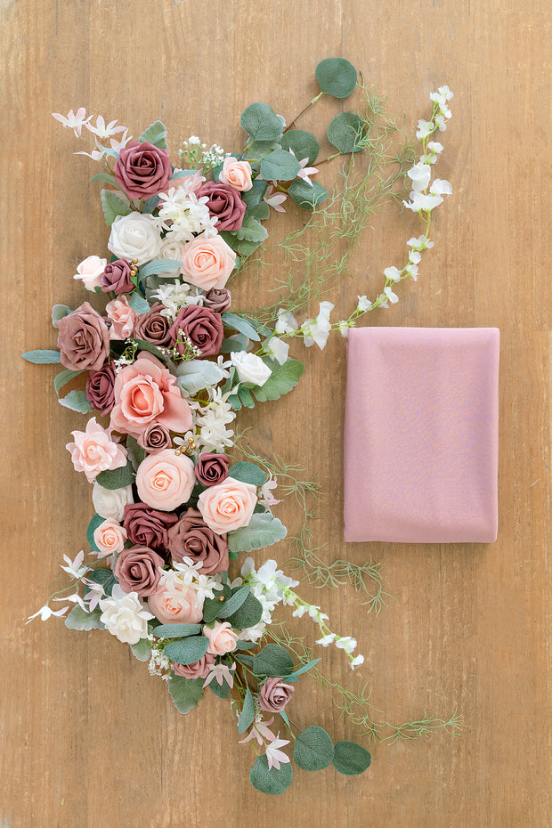 Flower Swag and Tablecloth For Sweetheart Table - Dusty Rose | Clearance Sale