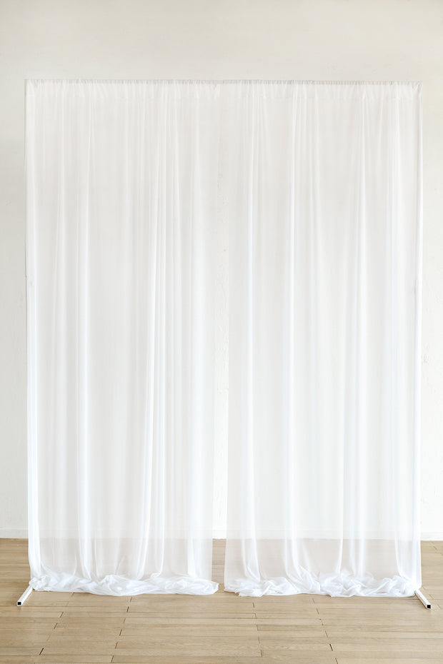 "Sheer Backdrop Curtain Panels 60""w x 10ft - White"