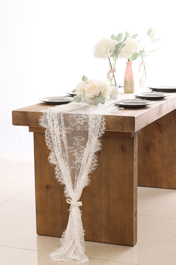 Eyelash Lace Table Overlay 30x120 inch - Ling's moment