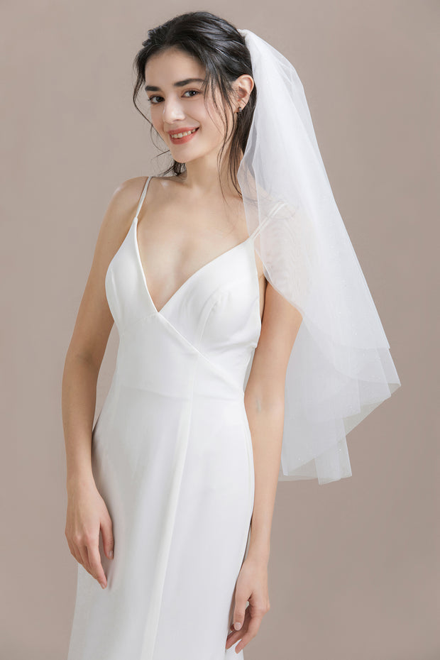 Two Tier Shimmer Elbow Veil with Comb