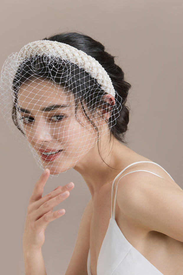 Retro Netted Birdcage Veil with Headband