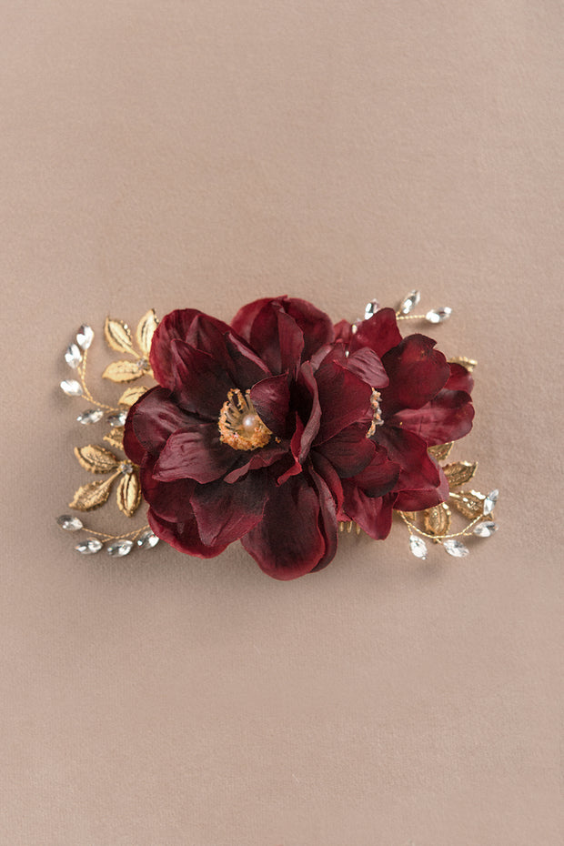 Anemone Hair Comb - Burgundy