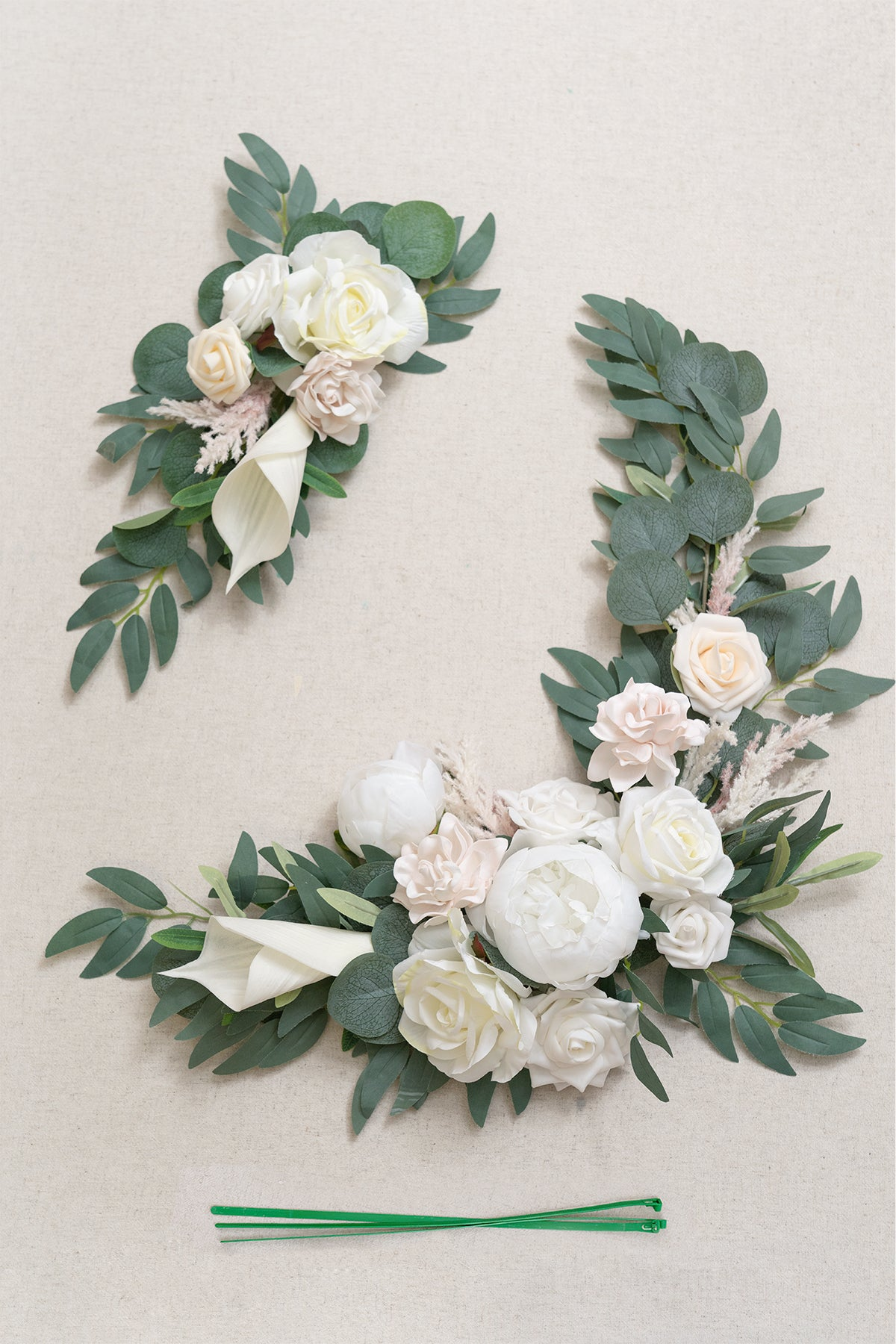 Flower Sign Décor (Set of 2) - White & Sage