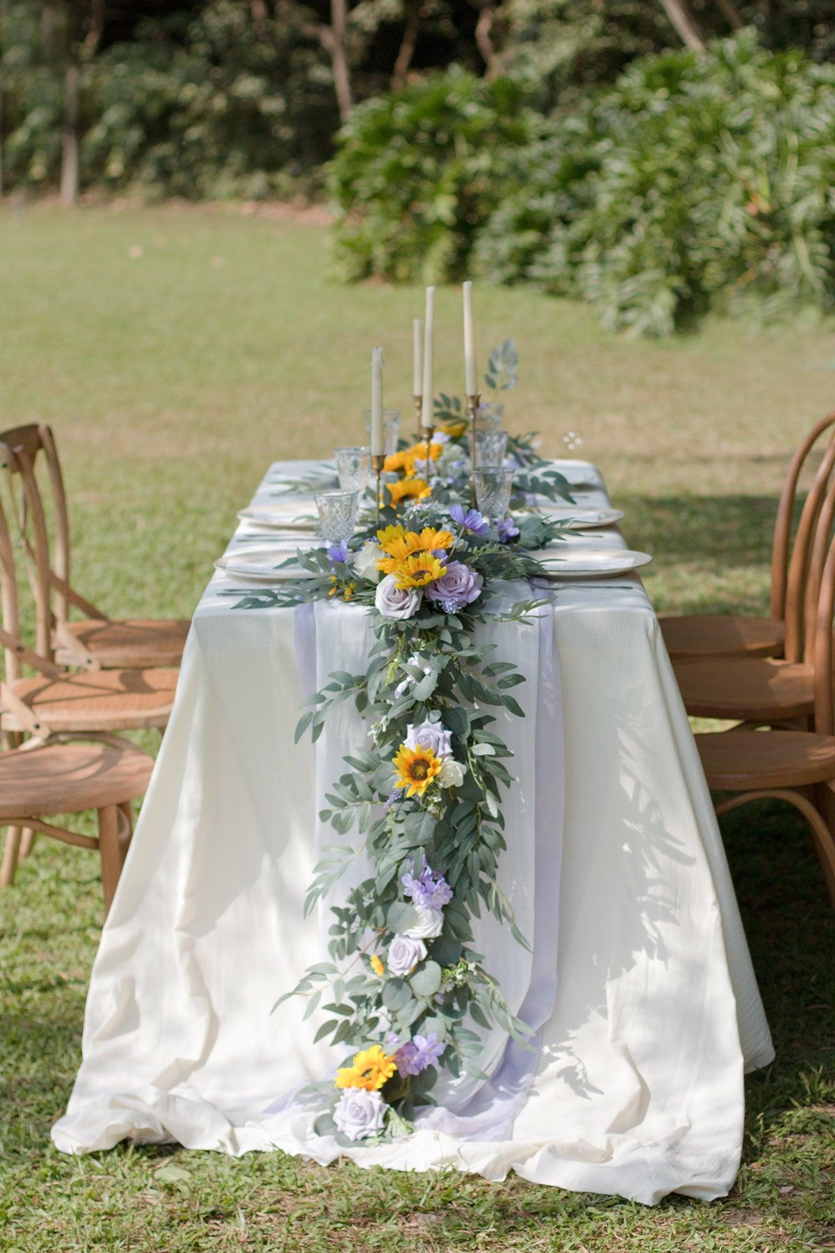 Eucalyptus and Willow Leaf Flower Garland 6.5FT - Sunflowers & Lavender
