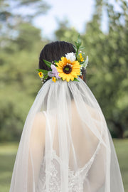 Flowers Bridal Hair Comb - Sunflowers & Lavender