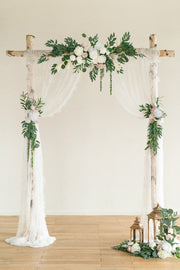 3pcs Flower Arch Décor with Lace Drape (Pack of 5) - White & Sage