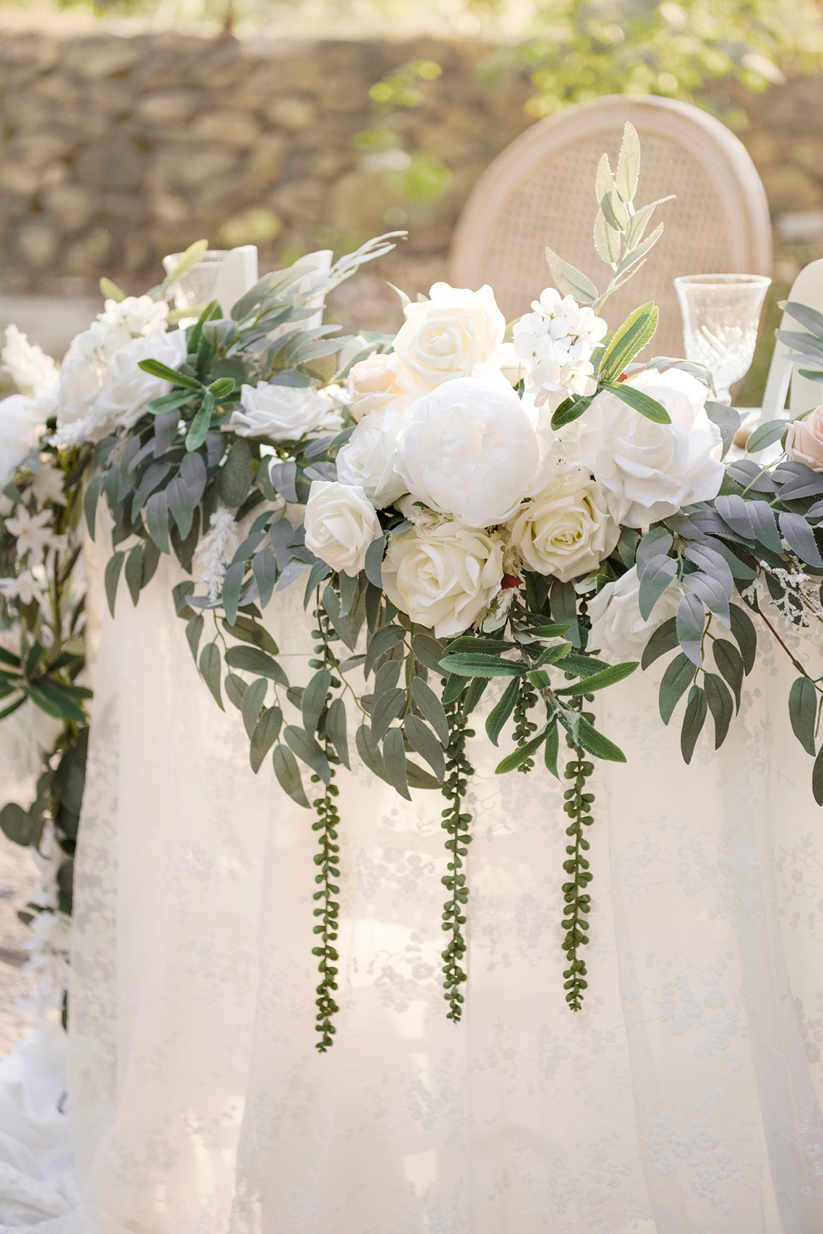 Eucalyptus and Willow Leaf Flower Garland 9FT - White & Sage