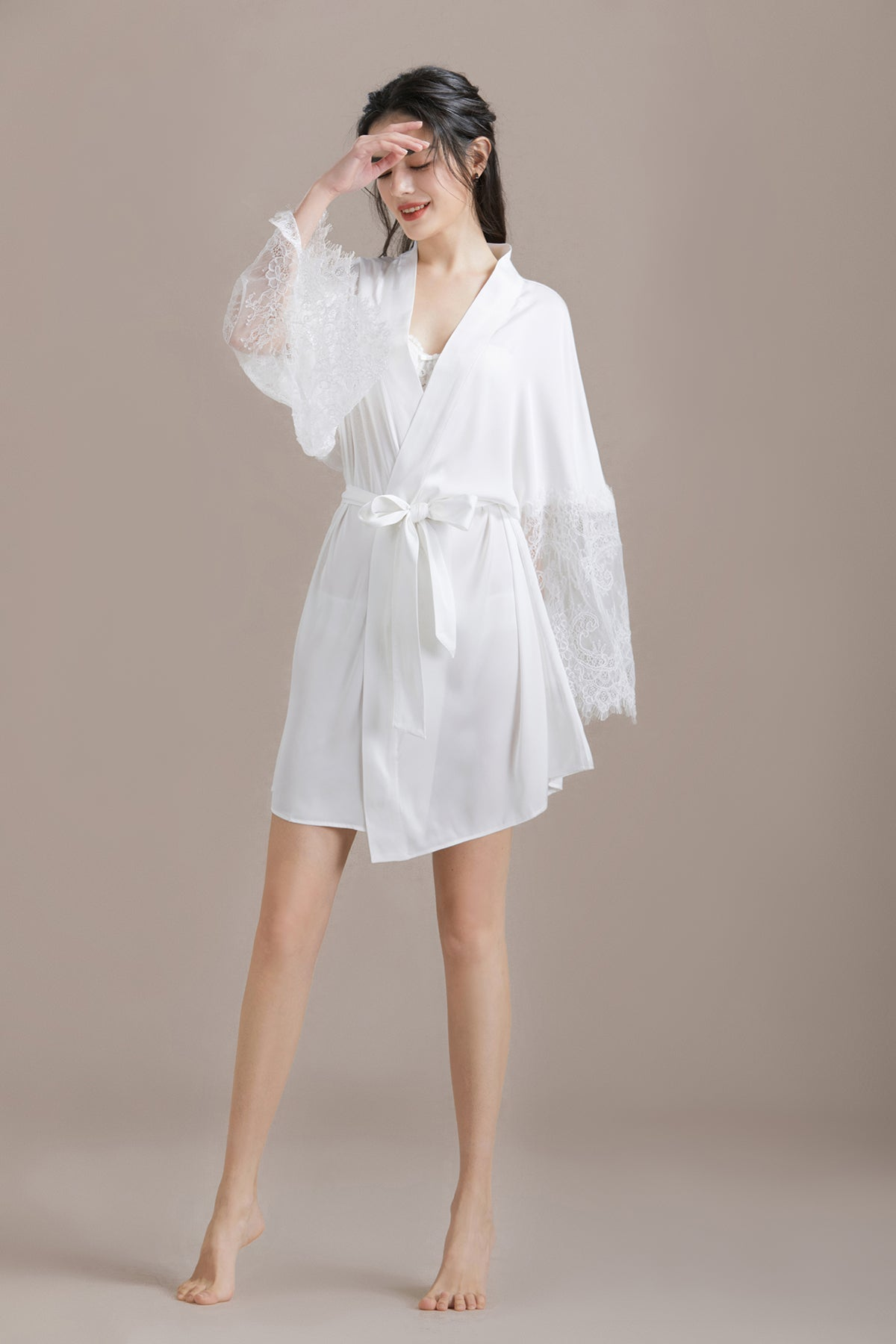 Lace Sleeve Satin Robe with Front-tie Waist