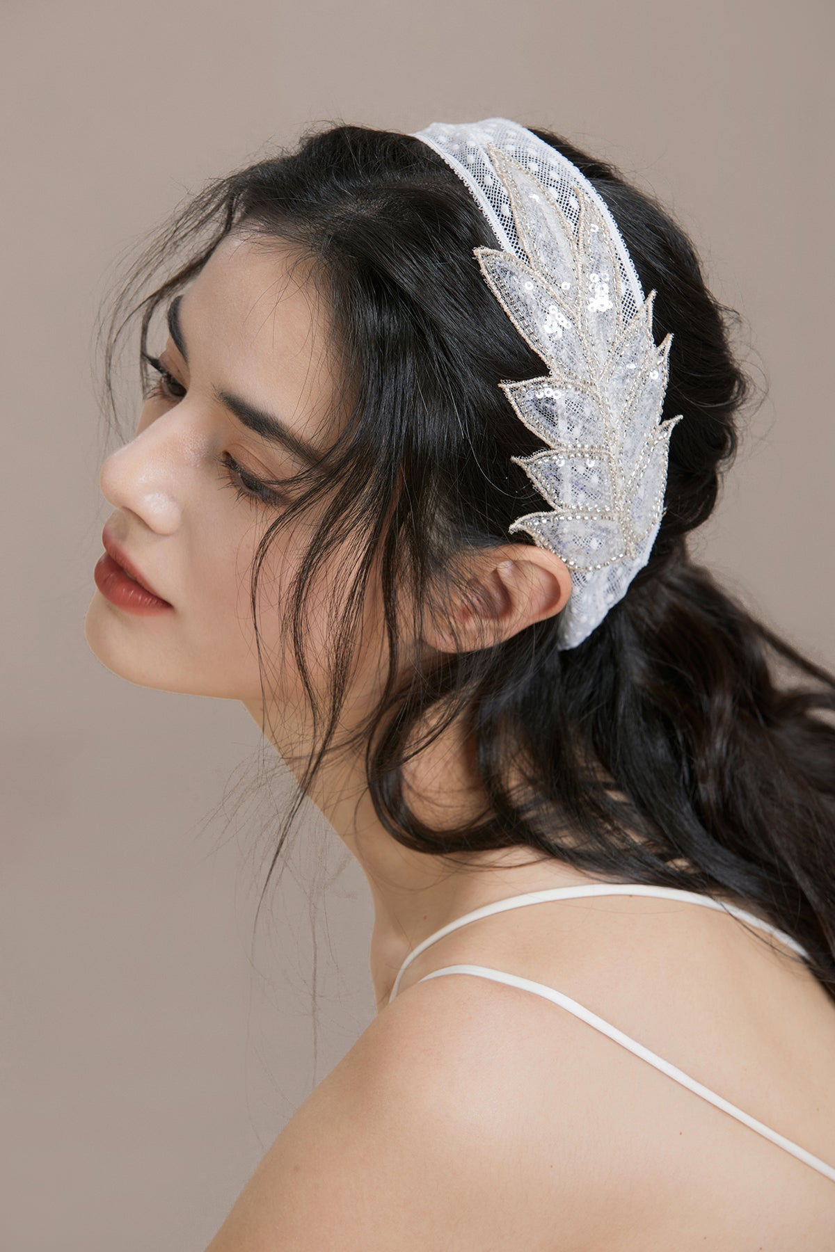 Beaded Feather Applique Hair Ribbon