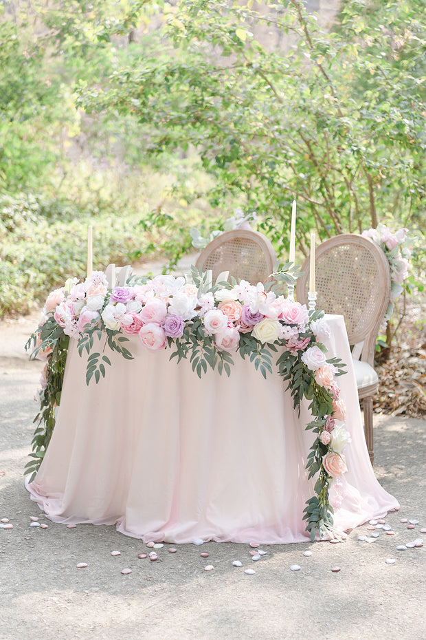 9FT Flower Garland for Sweetheart/Head Table- French Pink