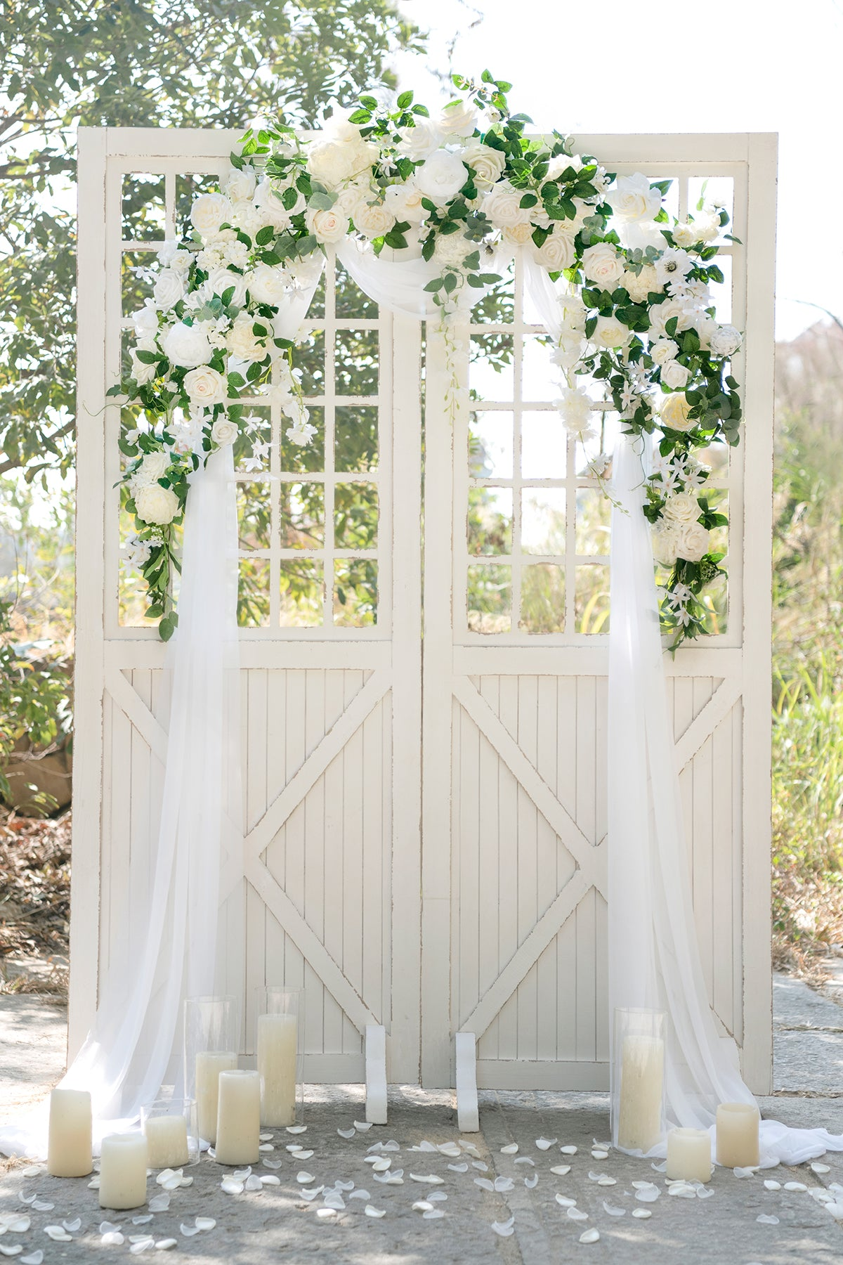Flower Garland Arch Décor with Sheer Drape (Pack of 4) - Ivory