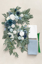 2pcs Flower Arch Décor with Macrame (Pack of 4) - Romantic Dusty Blue