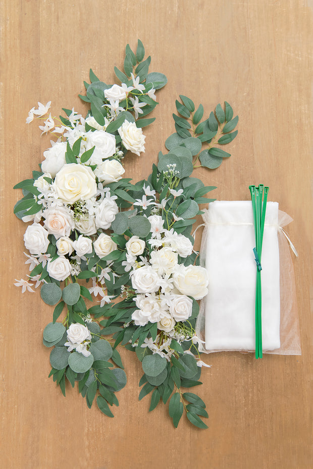 2pcs Flower Arch Décor with Sheer Drape (Pack of 3) - Timeless White