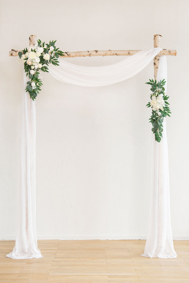 Flower Arch Décor with Sheer Drape (Set of 2) - Timeless White