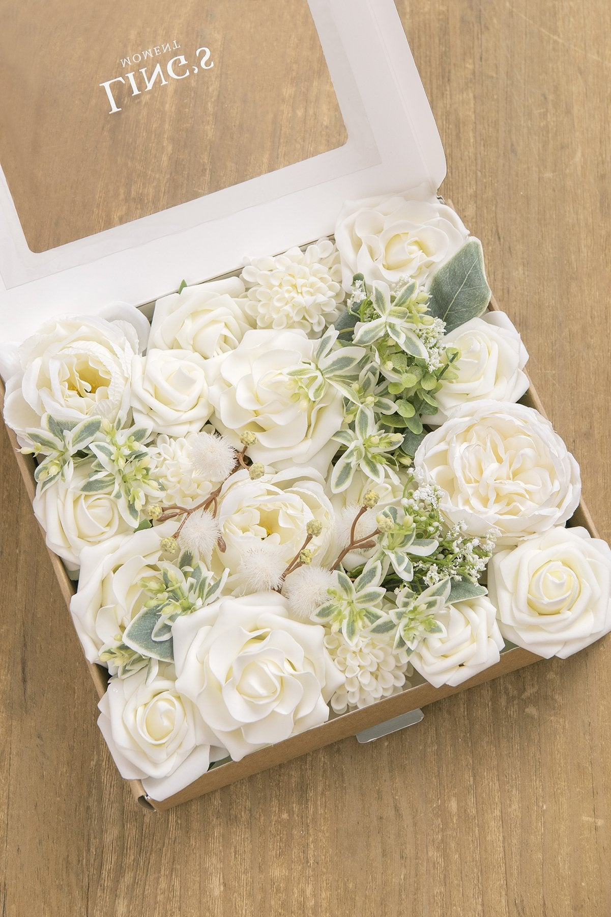 Flowers Box Set for DIY - White & Beige Theme