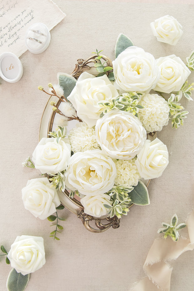 Natural Whites & Ivory Flowers Box Set - 11 Styles