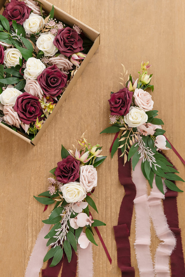 Wedding Aisle Decoration Pew Flowers (Set of 8) - Marsala