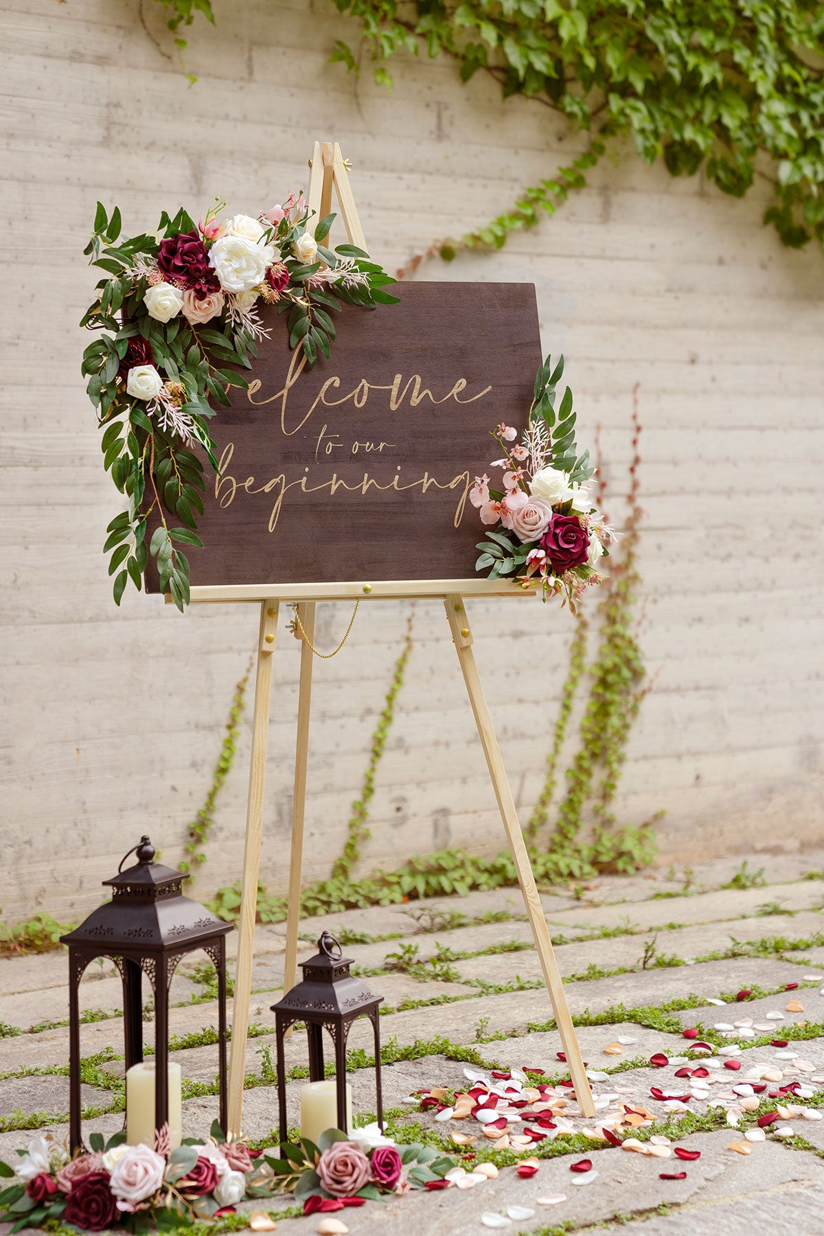 Flower Sign Décor (Set of 2) - Passionate Marsala
