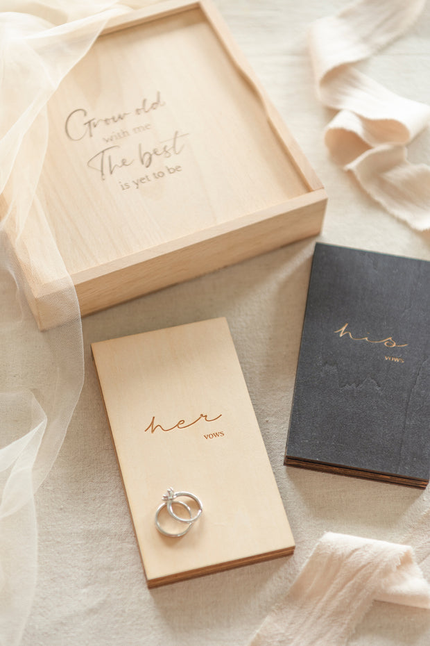 Wooden His & Her Vow Books With Keepsake