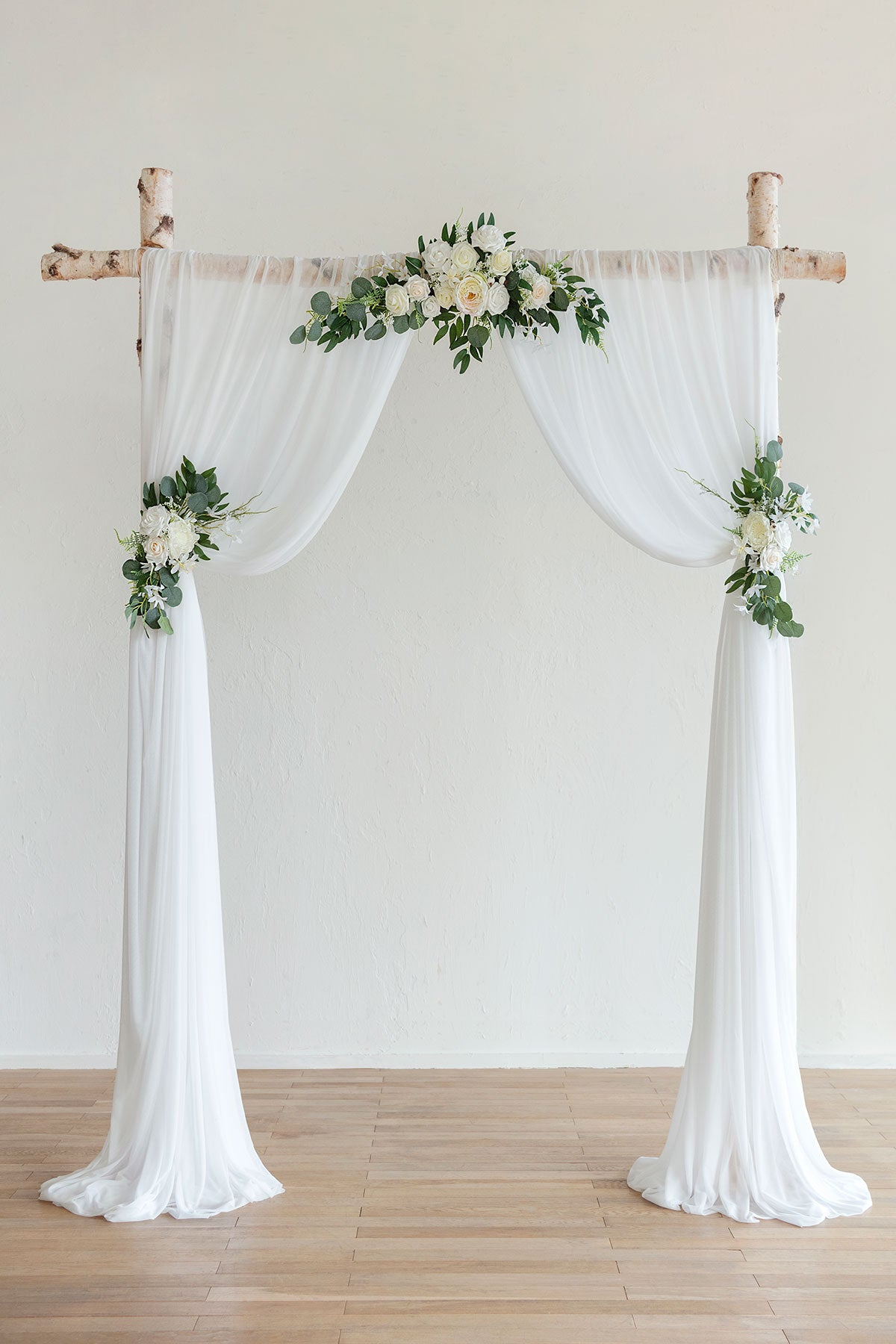 Flower Arch Décor with Sheer Drape (Set of 3) - Ivory